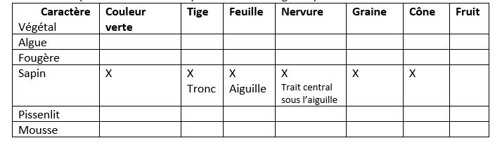 Tableau caracteres vegetaux 1